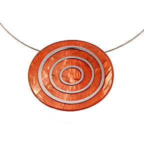 Origin Jewelry Orange Two Toned Resin and Pewter Necklace