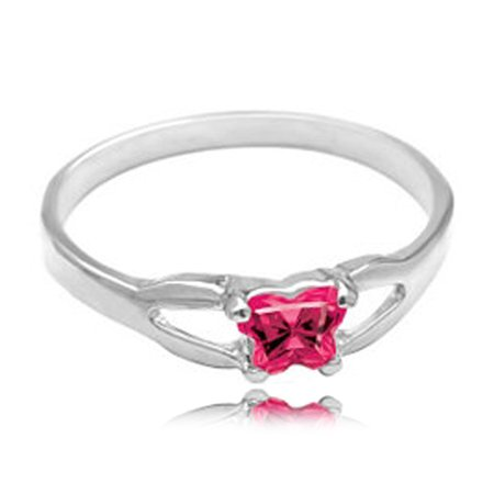 Sterling Silver Child'S July Pink Cubic Zirconia Birthstone Ring - Bfly