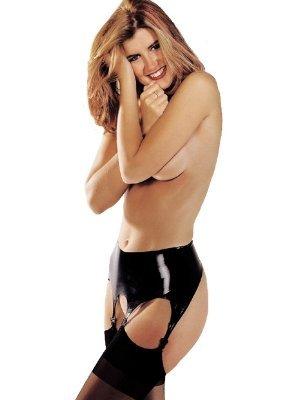 Sharon Sloane Black Latex Suspender Belt (Small)