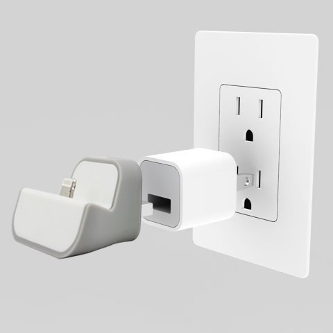 Mini Wall Plug-in Charging Dock with USB charger Included for iPhone 5 and latest iPod Touch