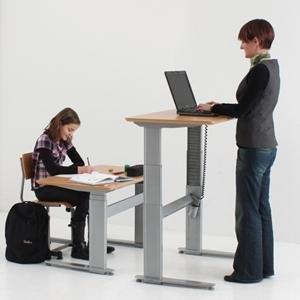 """Conset 501-27 Height Adjustable Desk With 72"""" X 30"""" Beech Vaneer Table Top"""