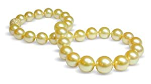 12x15mm Round Golden South Sea Pearl Necklace