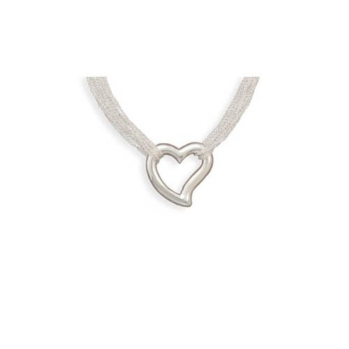CleverSilver's 12 Strand Fashion Necklace With Open Heart Pendant