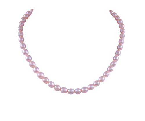 Pink Freshwater Cultured Pearl Necklace with Sterling Silver Flower Clasp (7-8mm) ,54