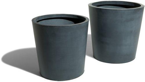 Strathwood Basics Round Zinc-Finished Planters Set of 2