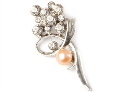 7-8mm pink freshwater pearl beads with gold plated flower brooch 25x52mm