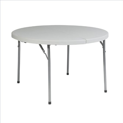 Work Smart 48-Inch Round Fold In Half Resin Multi Purpose Table