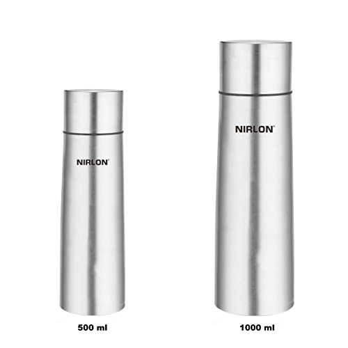 Flasks & Thermos 500ml + 1000ml Double Wall Vacuum Insulated Stainless Steel Water Bottle Flask & Cup - Wide Mouth Perfect Metal, Keep Hot&Cool, Leak Proof, Camping, Tennis, Runner, Bike, Sports Water Bottles By NIRLON  available at amazon for Rs.1150