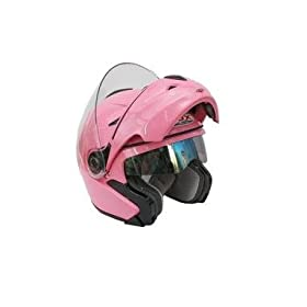 NEW & Improved VOX DOT Approved Full face Filp-up Modular Motorcycle, Snowmobile, Bike Helmet. IN PINK- Size Medium
