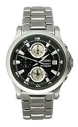 Seiko Premier Alarm Chronograph Stainless Steel Men's watch #SNA585
