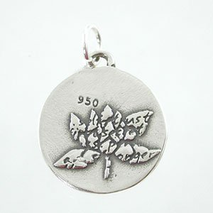 Back-Sterling Silver Small Round Reversible Lotus Flower Pendant with Words of Inspiration