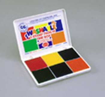 Stamp Pad 6 Pads In One / Red Blue Orange Yellow Green Purple -- Case of 3