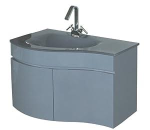 Luxo Marbre Wave 3320 G Wave Vanity With Tempered Glass Sink Grey Bathroom Vanities