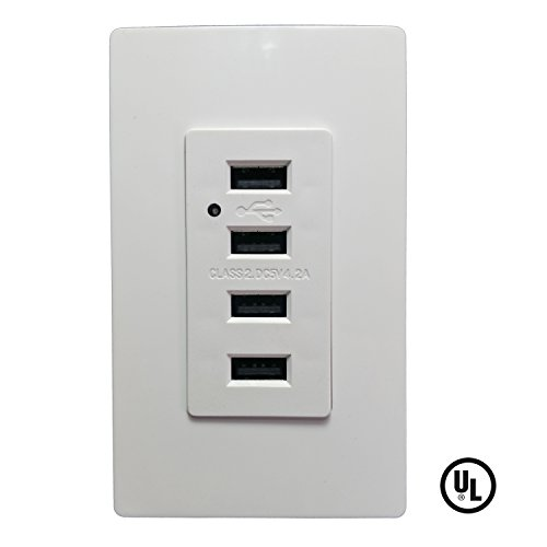 SECKATECH 4 USB Ports Charger Wall Outlet, 4.2A 5V DC Smart High Speed Charging Receptacle with 2 Free Wall Plates,White (UL Listed) (Dc Plug Cover compare prices)