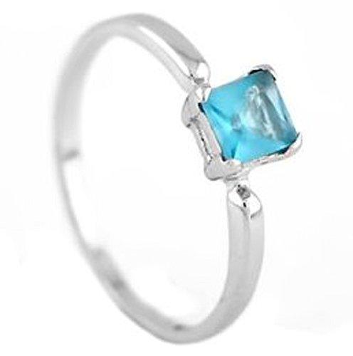 Silver Princess Cut March Aquamarine Birthstone Child Ring Size 4