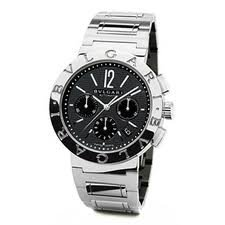 Bvlgari-Bvlgari Chronograph Automatic Black Dial Stainless Steel Mens Watch BB42BSSDCH