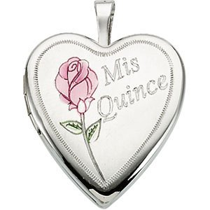 Sterling Silver Mis Quince Años Rose Heart Locket Necklace, 18