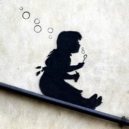 imagenation Banksy - Bubble Slide Girl - Framed Canvas Artwork Print : Size - 25CM X 25CM X 3CM DEPTH / 10
