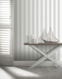 Opera Linen Stripe Wallpaper - Grey by New A-Brend