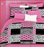 Veratex 457173 Pink Skulls Bed-In-A-Bag Micro-Fiber, Pink/Black/White, Twin