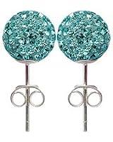 Clou d'oreilles cristal Swarovski, 8MM bling bling! argent 925 - boucles d'oreilles en argent faits avec plus de 70 cristaux Swarovski
