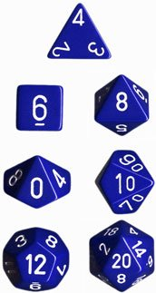 CHESSEX TRPGダイス/サイコロ Opaque Polyhedral(多面体) Blue w/white 7個セット
