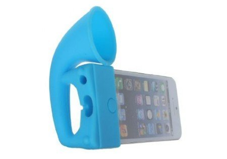 Mocase Soft Silicone Horn Stand Speaker Amplifier Fit For The New Iphone5 5G 5S (Blue)