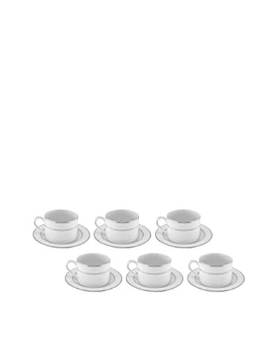 10 Strawberry Street Set of 6 Double Silver Line 8-Oz. Tea Cups & Saucers