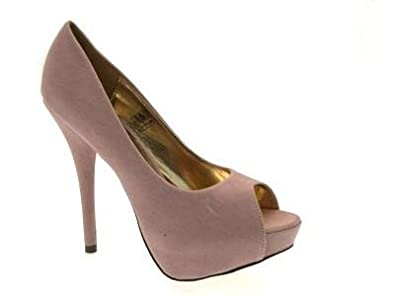 WOMENS PEEPTOE PLATFORM HIGH HEELS LADIES SHOES NUDE SIZE 3