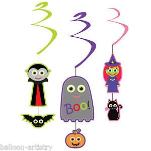 6 Halloween Cutie Creatures Vampire Witch Party Hanging Swirls Decorations (Kangaroo Cutie Adult Costume)