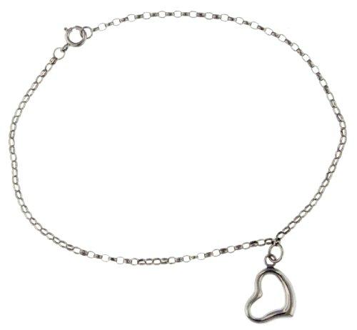 9ct White Gold Round Belcher Heart Charm Bracelet
