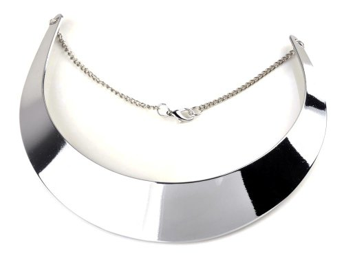 Yantu Ladies Gold Silver-Tone Curved Mirrored Metal Choker Collar Mottled Necklace