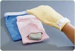 Patterson Medical Terry Cloth Antimicrobial Wash Mitts Pocket, Yellow/Small,A8044