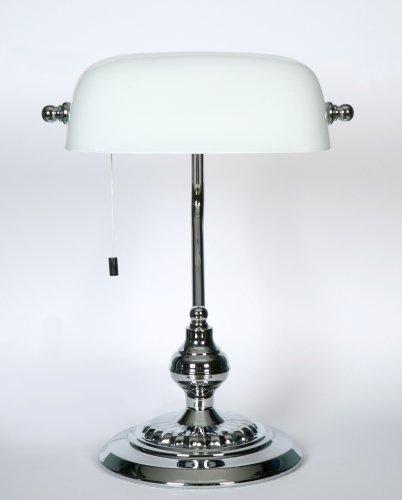 SCHREIBTISCHLAMPE TISCHLEUCHTE BANKERS LAMP BANKER LAMPE CHROM WEISS