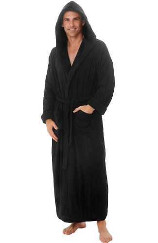 100 del rossa men 39 s terry cotton full length hooded bathrobe robe black 1xl 2xl ebay. Black Bedroom Furniture Sets. Home Design Ideas