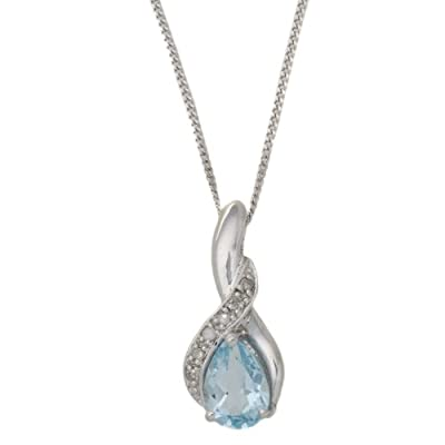 Carissima 9ct White Gold 0.03ct Diamond and Blue Topaz Drop Pendant on Chain Necklace 46cm/18""