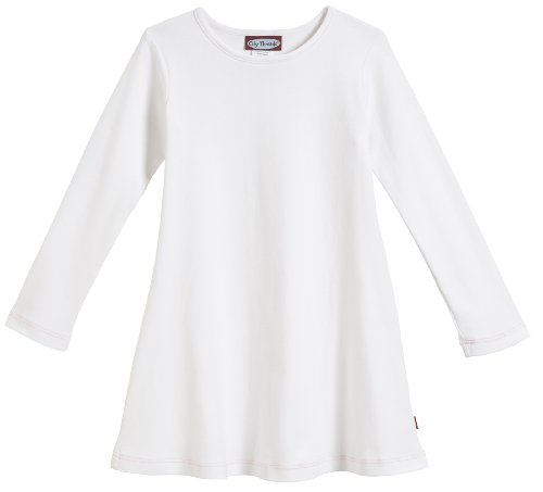 City Threads Little Girls' Cotton Long Sleeve Dress for School or Play for Sensitive Skin SPD Sensory Friendly, White, 4