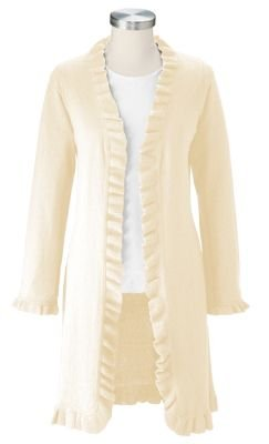 TravelSmith Women's Plus Size Ruffle Cardigan White 2X | Sweater Center - Ao Len Dep
