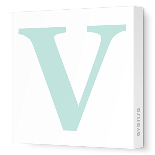 "Avalisa Stretched Canvas Upper Letter V Nursery Wall Art, Aqua, 18"" x 18"" - 1"