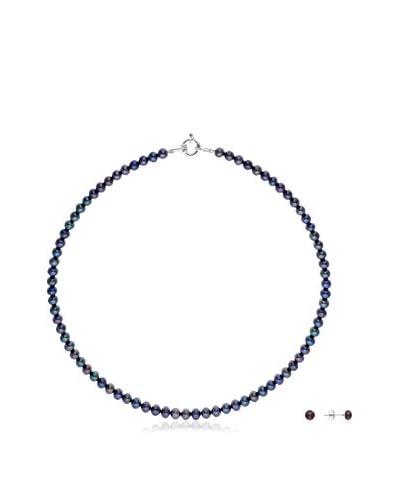 Pearls & Colors Conjunto de collar y pendientes plata de ley 925 milésimas