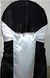 MDS 100 Satin Chair Cover Bow Sash Wedding Banquet Decor White
