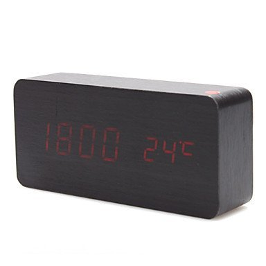 KABB Red LED Black Wood grain Cuboid Digital Clock Alarm Thermometer Temperature Function Clap On Sound Control Clock