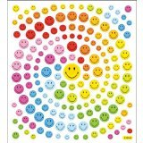 Multi-Colored Stickers-Happy Face Glitter - 1