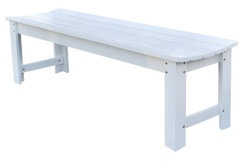 Shine Company Backless Garden Bench, 5-Feet, White