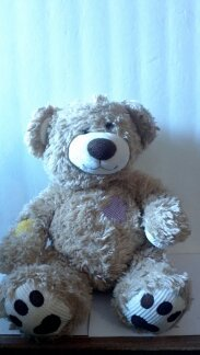 "Patches Teddy Bear W/corduroy Paws Purple Heart 11"" Sitting - 1"