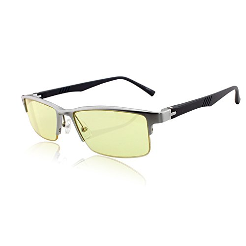 DUCO Optiks GX091 Semi Rimless Video Computer Gaming Glasses with Amber Lens Tint AL-MG Alloy Frame TR90 Arms(Silver Frame,Amber Lens)