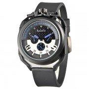 Unique Design Date Silicone Strap Men's Quartz Sport Watch - Blue Needle