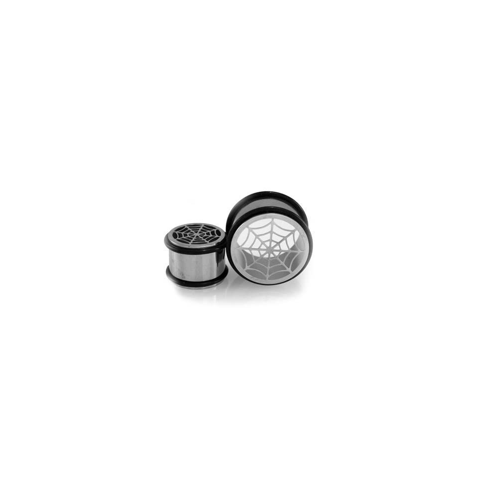 Stainless Steel Spider Web Flesh Plugs w/ O Rings   1(25mm)   Sold as a Pair