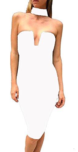 ALAIX senza femminile spalline Halter V profondo con l'acciaio del torace di supporto Bodycon Abiti, bianca, Large