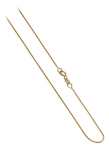 "ZFCG001-Y-18 14 KT Yellow Gold 0.6mm wide Baby Box Chain 18"" Necklace"